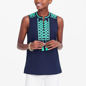 J. CREW embroidered tank top navy tassels